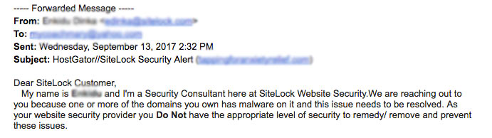Beware of malware scams – SiteLock, HostGator, Bluehost, and